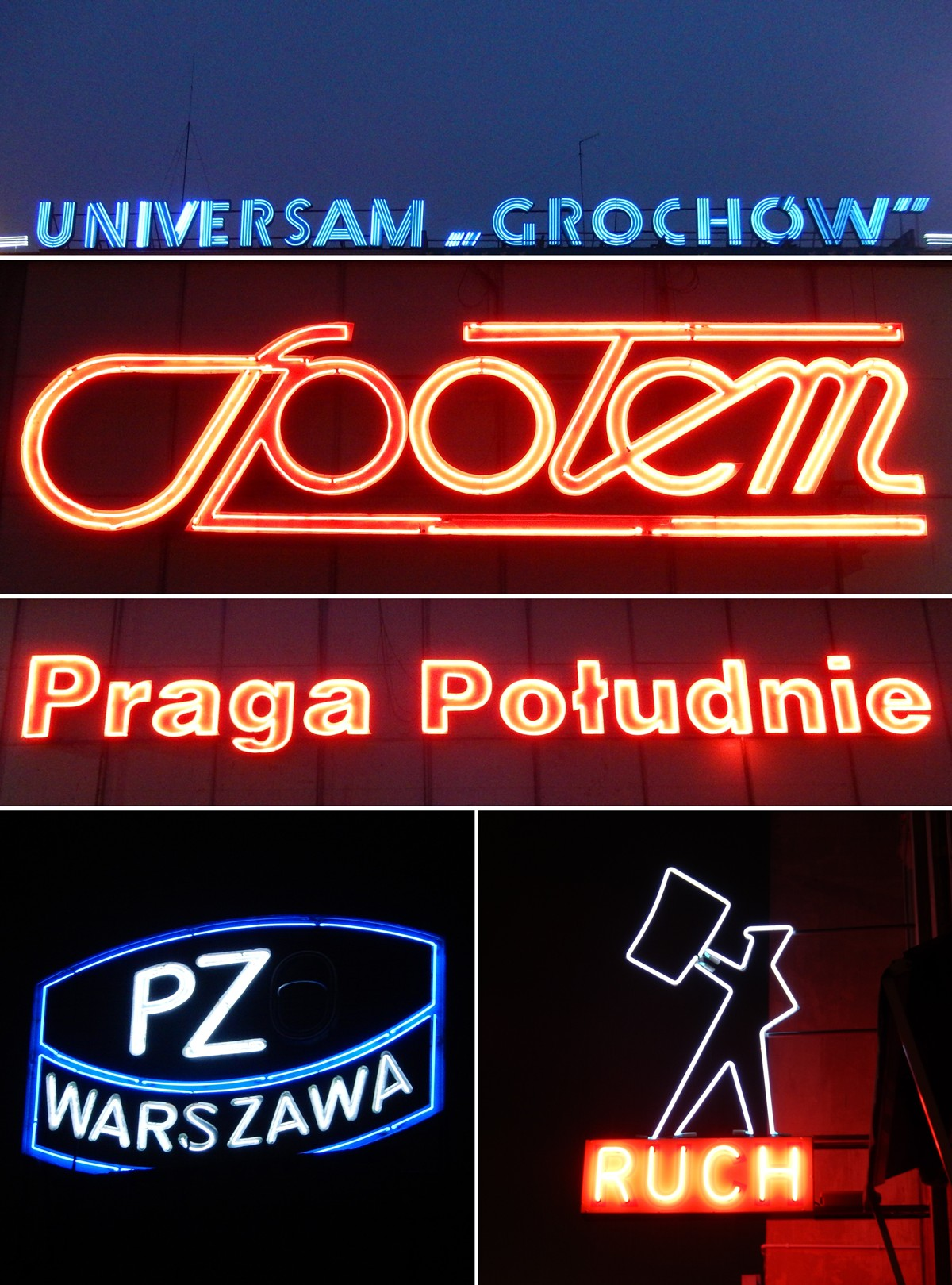 Trzy pierwsze od góry - Rondo Wiatraczna, PZO - Grochowska 316/320, Ruch - Marszałkowska przy pl. Konstytucji