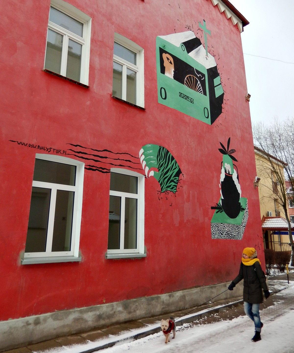 białystok mural czerwona ściana