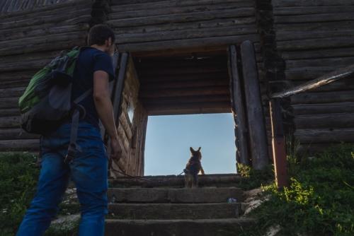 gród na górze Birów z psem